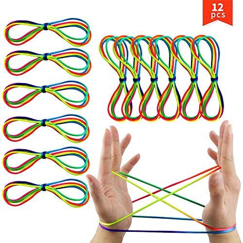 XMY 12 Paquete Cuna de los Gatos de Cuerdas, Color del Arco Iris de la Mano del Juego de Cuerdas para niños Finger innovadoras de cooperación Diversión Juegos, 2 mm Rough