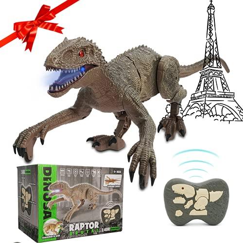 SAKHRI PARIS®– Juguete de Dinosaurio Teledirigido – Rex el Dinosaurio de París – Movimientos Realistas y Sonido Ambientado – Robot con Mando Radio Control – Regalo para Niños – Niña & Niño