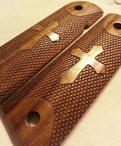LEGENDARY-YES 1911 Wood Grips with Engraved Cross