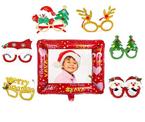 6pcs Weihnachtsbrillen, 1pcs Aufblasbarer Fotorahmen, Partybrillen Set Kreative Weihnachten Brillen Party Gläser, lustig Weihnachtenbrillen, Foto Requisiten