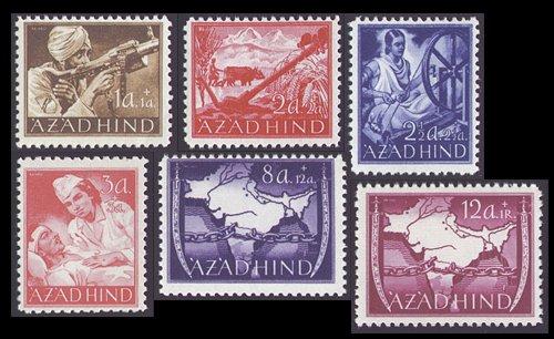 Goldhahn Deutsche Besetzung 2. Weltkrieg Nationales Indien Nr. I-VI postfrisch ** Briefmarken für Sammler