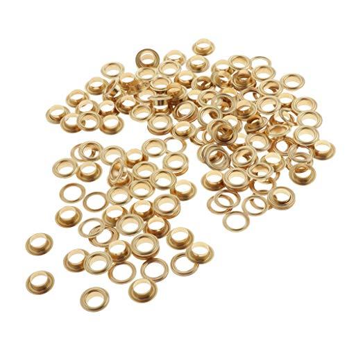 SM SunniMix 200pcs Ojales Metalicos Kit Ojetes 10mm Herramienta de Montaje Arandela Ojetes para Toldοs Lonas Ojales Ropa DIY - dorado