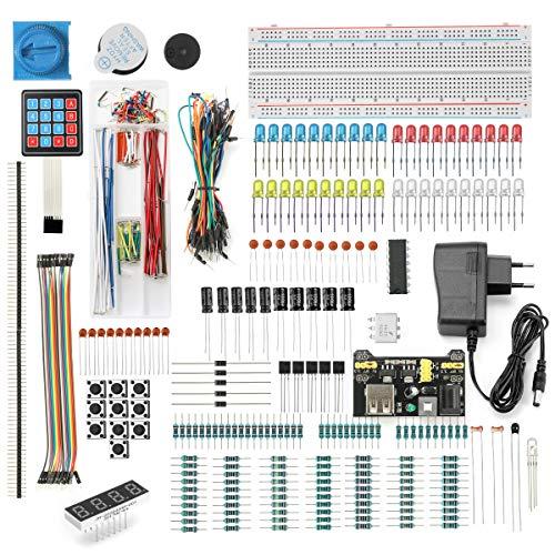 DEYUE 398 Arduino Electronic Fun Kit Bundle   Elektronische Komponenten Arduino Starter Kit   Raspberry Pi 3 Starter Set   Stromversorgungsmodul, Netzteil, Überbrückungsdraht, etc.