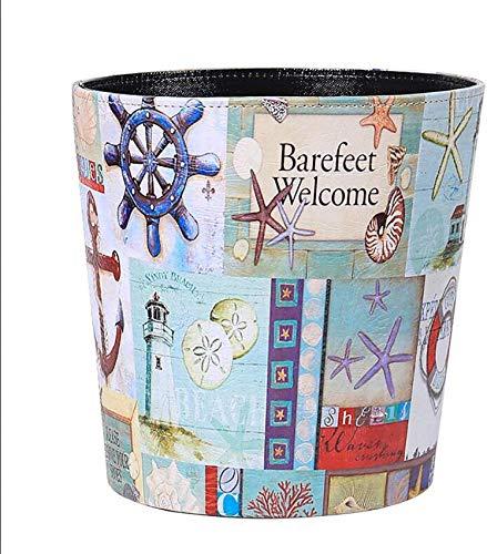 NSYNSY Papierkorb, Retro-Stil Pu Leder Runde dekorative Mülleimer Mülleimer Papierkorb ohne Deckel für Wohnzimmer Home Office F 20x20x26cm (8x8x10inch)