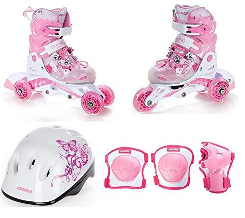 RAVEN 3in1 Kinder Inline Skates Triskates/Rollschuhe Princess 34-37 (22cm-24cm) + Schützer Neve XS + Helm Silky XS
