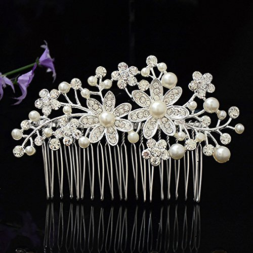 Utsunomiya® 1stück Mega Glamour à douille Peigne Peigne de cheveux décorées avec Fein doux Satin Fleurs et feuilles en perle, de luxe avec cristaux de