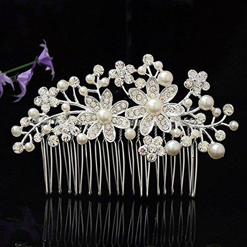 Utsunomiya® 1stück Mega Glamour à douille Peigne Peigne de cheveux décorées avec Fein doux Satin Fleurs et feuilles en perle, de luxe avec cristaux de mariage mariage cérémonie cheveux bijoux, CC08