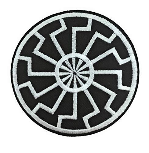 Patch brodé Hotfix soleil noir 7,5 cm