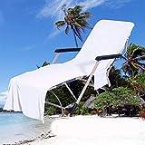 QCWN Funda para silla de playa, toalla de microfibra para tumbona y tumbona de jardín, con bolsillos (blanco #1)