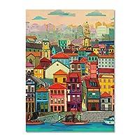 水ヴィンテージポスター都市景観北欧アートキャンバスプリント絵画壁画モダンな家の装飾40x50cmフレームなし