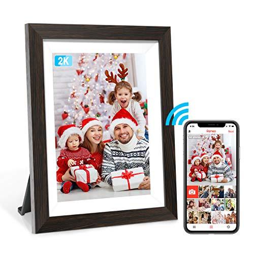 Marco de fotos digital Frameo 2K de 10 pulgadas con contenido de aplicación WiFi, alta resolución IPS marco de fotos de visualización táctil de alta resolución, fácil instalación, aplicación gratuita, montaje en pared, nube digital marco de fotos