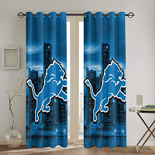 YRTY Detroit City Night View with Team Logo Blackout Curtains Wave Striped Foil Print Room Darkening Grommet Blackout Curtain for Bedroom Curtain 2 Panels 52 X 84 in