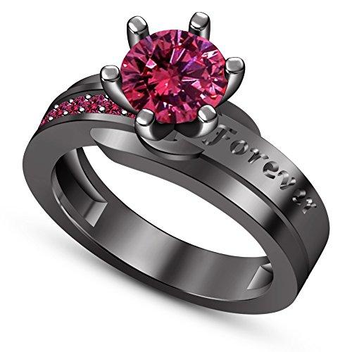 Vorra Fashion - Sterling-Silber 925 Rundschliff Pink Saphir de synthèse