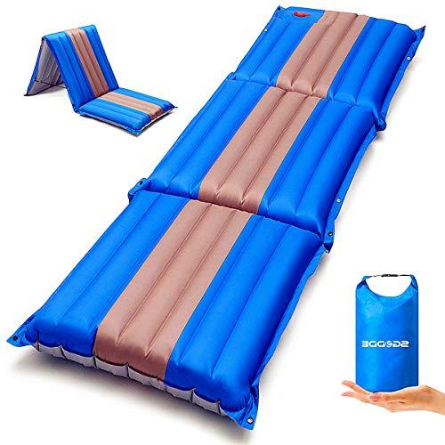 SGODDE Isomatte, 3-faltbar Handpresse Aufblasbare Matratzen, Erweiterbar 12 cm dick Camping Selbstaufblasbare Luftmatratze, Ultraleicht und Tragbare,Wasserdicht und Rutschfest Schlafmatte