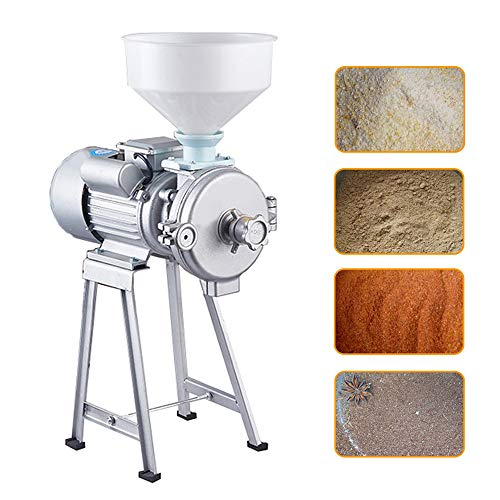 Munsinn 110V 2200W Commercial Grinder Dry and Wet Grain Soybean Grinder Milling Machine Rice Corns Beans Chili Machine with Funnel