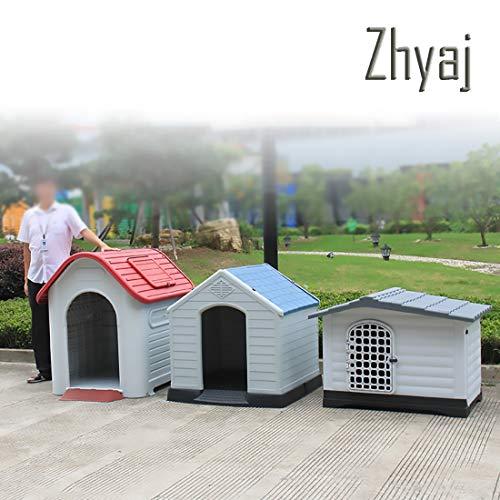Zhyaj Caseta Perros Exterior, Casa Perro Grande Estable Durable Impermeable Desmontable Ventilación Respirable Cama para Mascotas Cama Perro Grande 75 * 59 * 66 Cm Casetas De Jardin,A