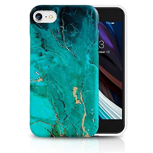 IYUPP iPhone 7 / 8 / SE 2020 Coque marbre Bleu – Étui Flexible & Résistant en TPU – Ajustement Parfait - Housse Design Marbre