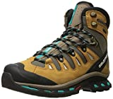 Salomon Women's QUEST 4D 2 GTX W Backpacking Boot Shrew/Camel Gold Leather/Teal Blue Fabric 8 M US