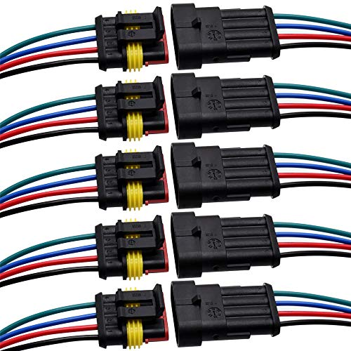 4 Pin Connector Waterproof Connector,Male and Female Way 16 AWG Wire Suitable for car Truck, Boat and Other Wire Connection (5 kit)