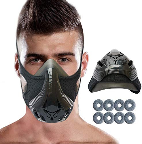 HANDSONIC Workout Mask 40 with Adjustable Resistance 48 Level Fitness Mask for High Altitude Elevation Training Running Biking MMA Cardio HIIT Training and Building Endurance