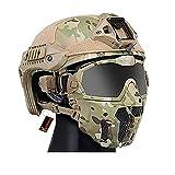 Casco Táctico Fast con Gafas Antivaho Desmontables Máscara Transpirable, para Caza y Tiro Airsoft Paintball CS