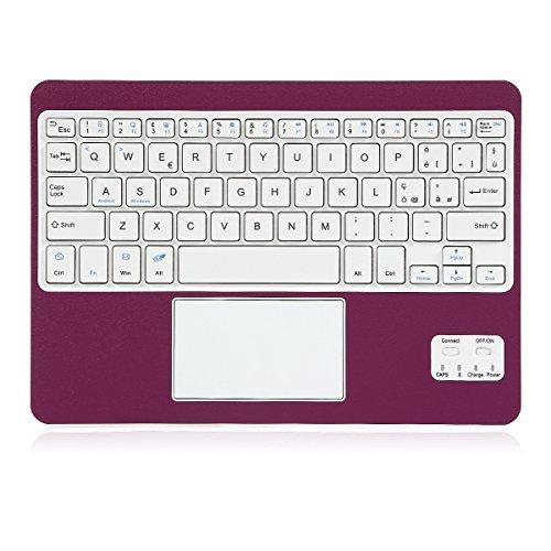 Coastacloud Tastiera Wireless Bluetooth 3.0 Tastiera Wireless per Portatile e Leggera con QWERTY Italiano Layout Tastiera e touchpad - Compatibile Qualsiasi Android/Windows Tablet-Viola