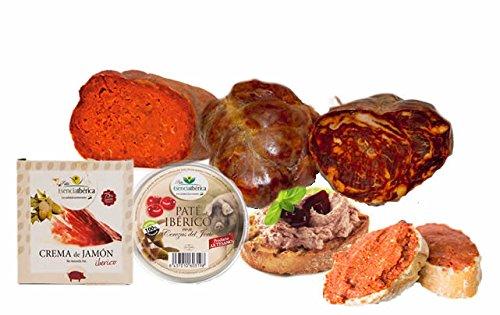 MORCON IBERICO (750 gr) + SOBRASADA IBERICA (500 gr) + TARRINA PATE IBERICO CON CEREZAS DEL JERTE (140 GR) + TARRINA CREMA UNTAR JAMON IBERICO (70 Gr) 11,55