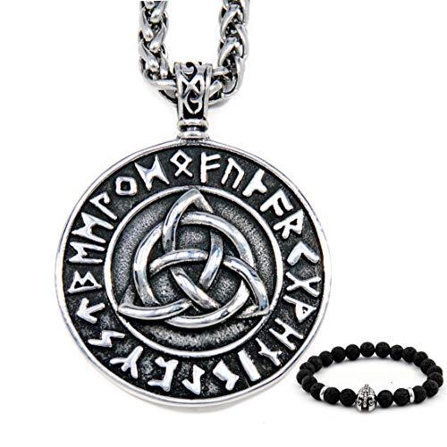 BaviPower Celtic Triquetra Viking Rune Pendant Necklace 4mm Keel Chain Stainless Steel Asatru Pagan Jewelry for Men Women