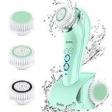 Brelax Cepillo Limpiador Facial Electrico, Limpieza Facial Sonic Impermeable IPX7, Temporizador, 3 Cabezales, 6 Velocidades, Carga Inalámbrica, Limpiador de Cara para Poros, Puntos Negros y Maquillaje