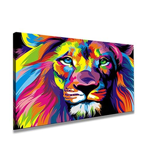 80 x 60 cm Cuadro en Lienzo el león 4001-SCT – Imagen/Impresion/Pintura Listo para Colgar