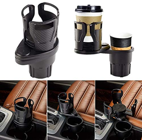 Huzz 2-in-1 Car Cup Holder Expander Adapter, Multifunctional Car Drink Holder with A 360° Rotating Adjustable Base, Drinks Bottle Water Cups Hold up to 17oz-20oz Bottled Coffee, Beverage Bottles