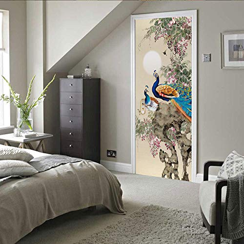 ZWLZJO Adhesivo para puerta con efecto 3D Tinta china pintura animal pavo real 77x200cm Etiqueta De Puerta Poster Autoadhesivo para puerta cocina salón dormitorio cuarto de baño papel pintado