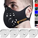 FIGHTECH Dust Mask | Mouth Mask Respirator with 4 Carbon Filters for Pollution Pollen Allergy Woodworking Mowing Running | Washable and Reusable Neoprene Half Face Mask (L/BLK)