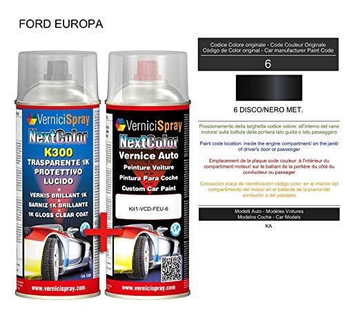 Kit de pintura para coche en spray de 6 discos/negro Kit de retoque de pintura metalizada y transparente, 400 + 400 ml de pintura en aerosol.