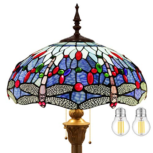 Tiffany Floor Lamp LED Antique Bright Standing Reading Light 64' Tall Blue Stained Glass Dragonfly...