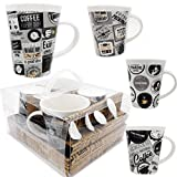 Coffee mug- Set of 4 Coffee mugs (10 Ounce) Best quality Ceramic cup set with distinctive assorted Coffee vintage phrases, in exclusive Boxed gift set