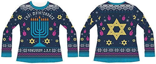 Faux Real Women's Ladies 3D Photo-Realistic Ugly Christmas Sweater Long Sleeve T-Shirt, Chai Maintenance, X-Large