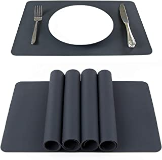 Webake Placemats Set of 4 Non-Slip Silicone Kitchen Table Mats Thicken Hot Mats 16 x 12 inch Heat Resistant Waterproof Insulation Mats(Washable)