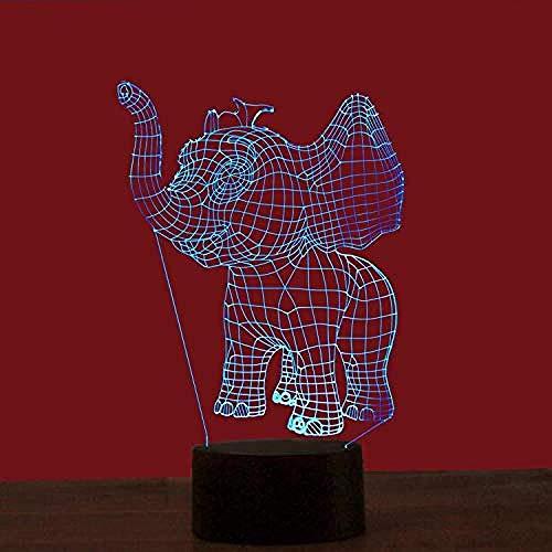 Luz fantasma 3D elefante luz de noche 3D color táctil luz LED regalo de energía USB luz de noche LED lámpara de mesa regalo de luz 3D