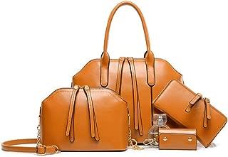 Female Bag Shoulder Portable 4-Piece Retro Big Bag Satchels Top Handle Shoulder Crossbody Bags (Color : Brown, Size : L)