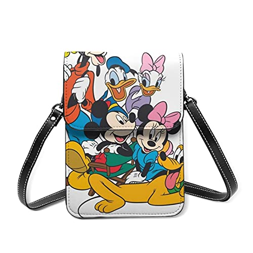 Mickey Mouse Donald Duck Goofy - Bolso de piel para teléfono celular pequeño y ligero, correa ajustable