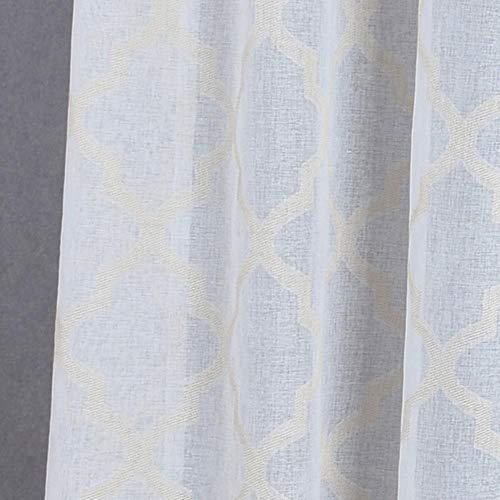 1 ST Moderne geometrische faux linnen gordijn semi-transparante jacquard keuken korte gordijn slaapkamer woonkamer gordijnen raam behandelingen, Beige, W350cm L270cm