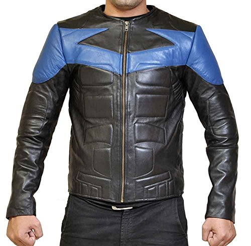 Mens Nightwing Jacket Dick Grayson Biker Cosplay Costume Motorcycle Black Faux Leather Jacket