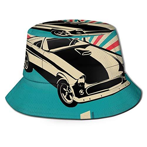 FULIYA Sombrero de cubo de poliéster, clásico coche americano en una calle con casas antiguas caribeñas Habana Cuba, sombrero de ala ancha
