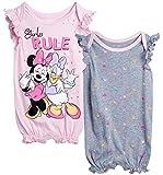Disney Baby Girls Romper 2 Pack: Minnie Mouse Ruffle Sleeve Romper (Newborn/Infant), Size 0-3 Months, Pink Minnie & Daisy/Grey Multi Polka Dots