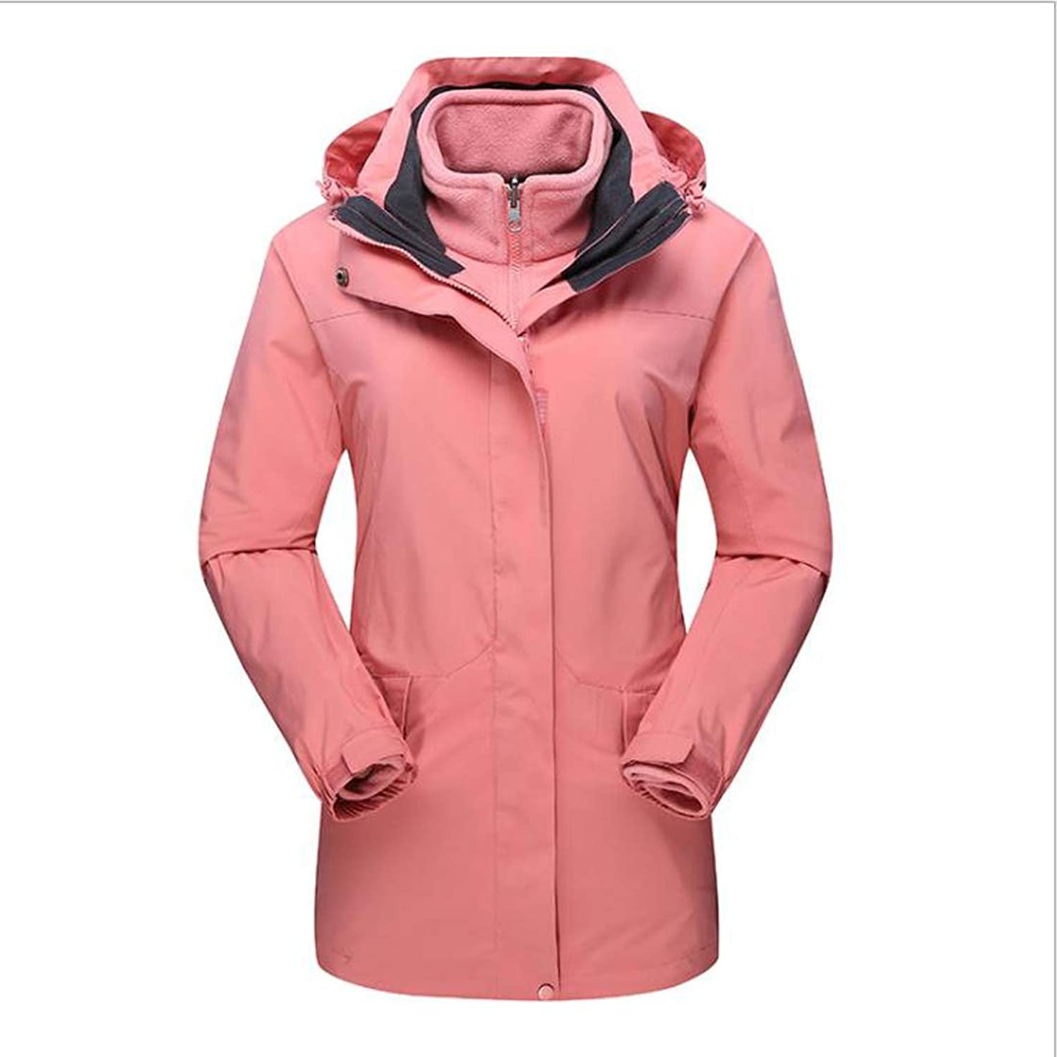 CEFULTY Outdoor Ladies' Jacket, TwoPiece Long Section, Warm Winter Warm Padded Trench Coat (color   01, Size   XXL)