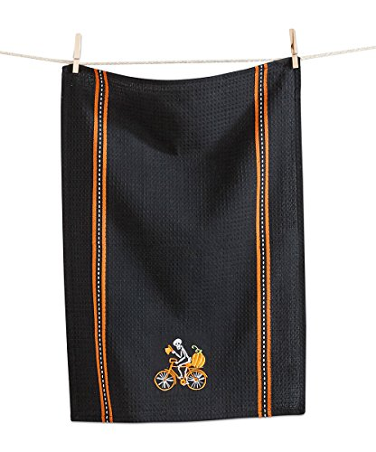 Etiqueta bordada esqueleto toalla de plato
