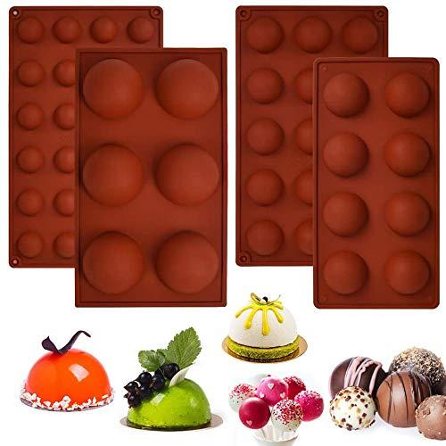 4 Piezas Molde de Esfera para Chocolate, Moldes de Bolas de Chocolate, Moldes de Silicona Bola para Horno, Silicona 6/8/15/24 Agujeros Molde de Semiesfera para Hacer Chocolate, Pastel, Gelatina