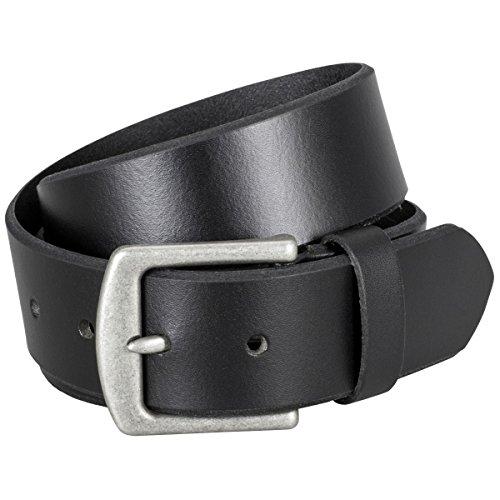 LINDENMANN Ledergürtel Herren/Gürtel Herren, Vollrindleder glatt, schwarz, Größe/Size:90, Farbe/Color:schwarz