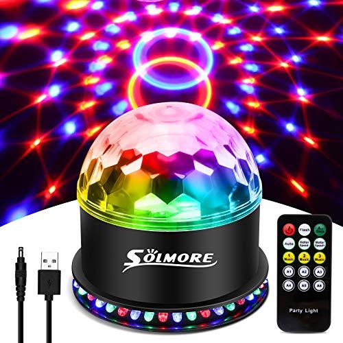 SOLMORE Discokugel LED Discolicht Party Lampe, RGB Disco Lichteffekte USB Kabel 7 Farben 6 Lichtmodi Musikgesteuert mit Fernbedienung für Halloween, Weihnachten, Party, Kinder